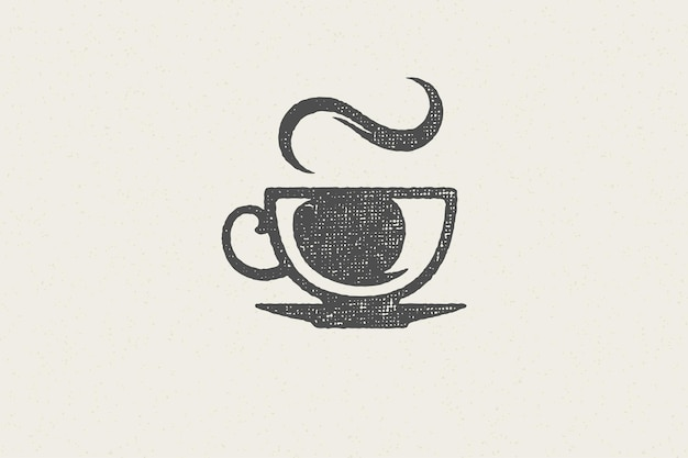 Silhueta de xícara de bebida aromática quente com cheiro de vapor como logotipo da cafeteria