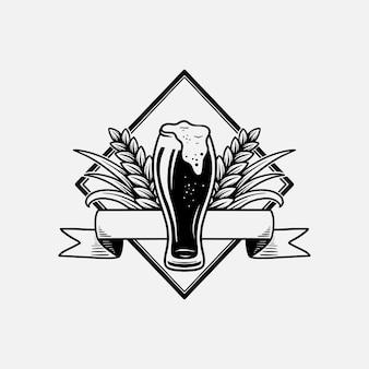 Silhueta desenhada à mão do logotipo da cerveja retrô vintage