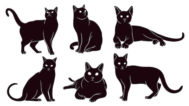 Silhueta desenhada de mão de gatos