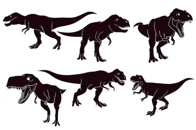 Silhueta desenhada de mão do tiranossauro