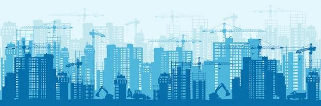 Silhueta detalhada do banner horizontal de desenvolvimento urbano de fundo colorido