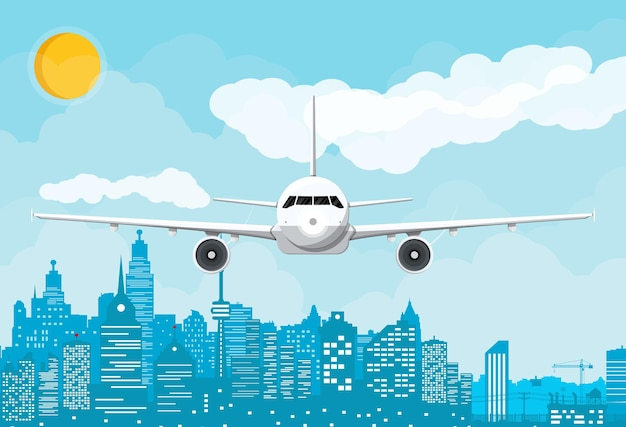 Silhueta do avião e do horizonte da cidade durante o dia
