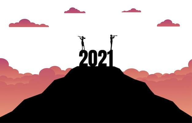 Silhueta do conceito de sucesso empresarial no novo ano de 2021.