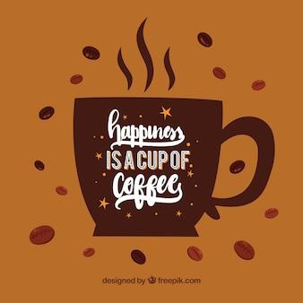 Silhueta do copo de café com letras