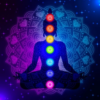 Silhueta do corpo com chakras coloridos