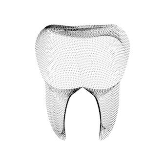 Silhueta do dente composta por pontos e partículas pretas. wireframe de vetor 3d de um dente molar com uma textura de grão. ícone dental geométrico abstrato com estrutura pontilhada isolada em um fundo branco
