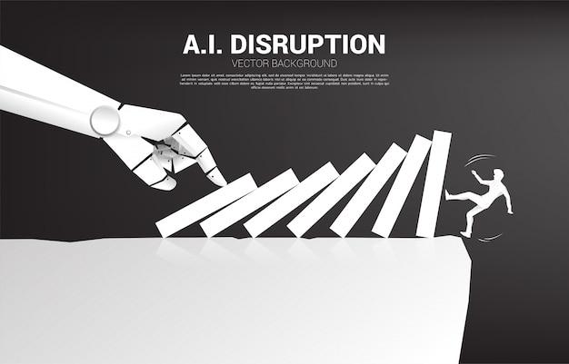 Silhueta do empresário caindo do penhasco pelo efeito dominó da mão do robô.