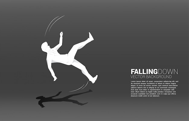 Silhueta do empresário caindo no chão. falha nos negócios e acidental