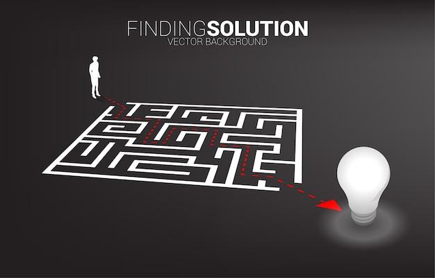 Silhueta do empresário com caminho de rota para sair do labirinto para a lâmpada. conceito de negócio para resolução de problemas e descoberta de ideias.