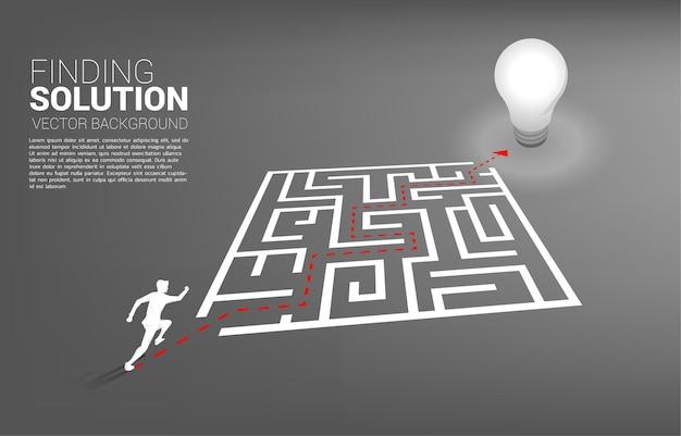 Silhueta do empresário correndo com o caminho da rota para sair do labirinto para a lâmpada