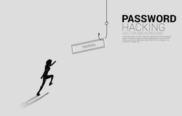Silhueta do empresário correndo para o anzol de pesca com senha. conceito de click isca e phishing digital.