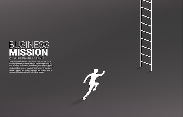 Silhueta do empresário correndo para subir com a escada.