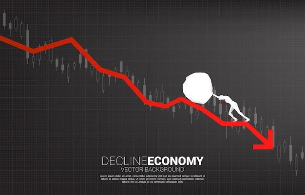 Silhueta do empresário empurrando a crise financeira rock roll down.stop. conceito de desafio empresarial e trabalho em equipe.