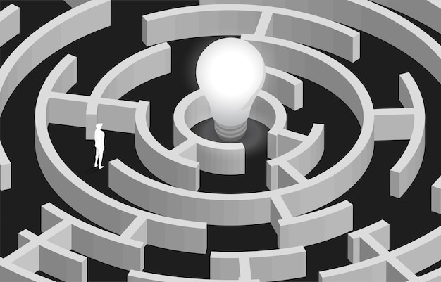 Silhueta do empresário no labirinto, encontrando maneira de lâmpada. conceito para resolução de problemas, estratégia de solução e ideia.