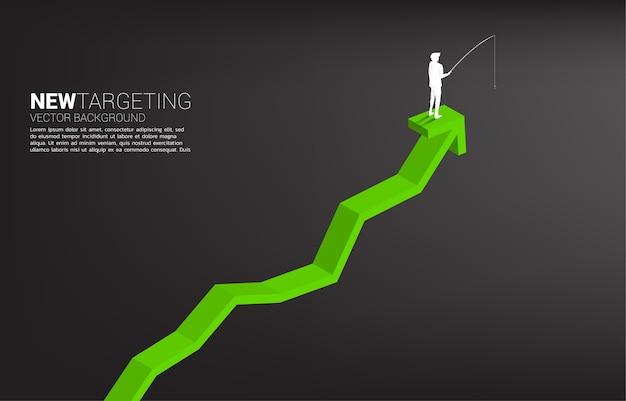 Silhueta do empresário pescando no topo do gráfico conceito de direcionamento e isca nos negócios