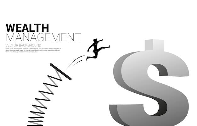 Silhueta do empresário salta para o ícone de dólar dinheiro com trampolim