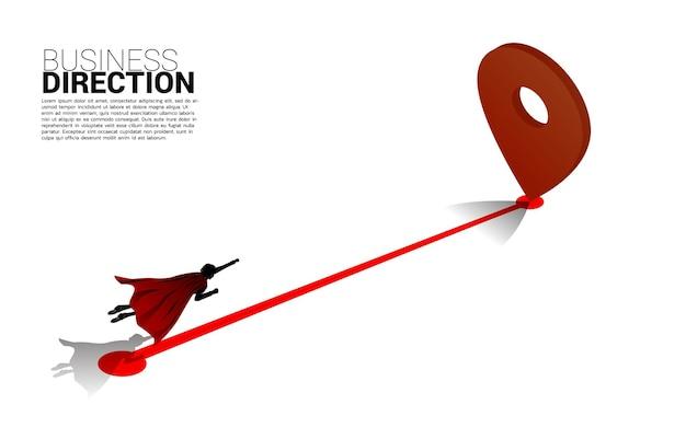 Silhueta do empresário voando para 3d pin. conceito de localização e direção de negócios.