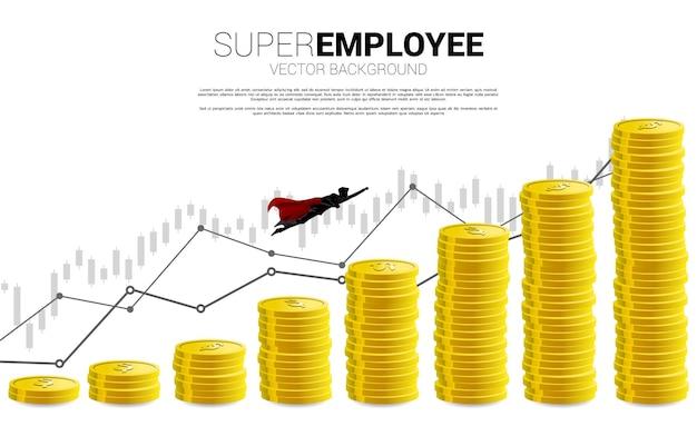 Silhueta do empresário voando para uma coluna mais alta da pilha de moedas do gráfico. conceito de impulso e crescimento nos negócios.