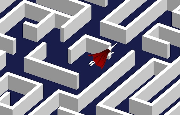 Silhueta do empresário voando sobre o labirinto. conceito de negócio para resolução de problemas e descoberta de ideias.