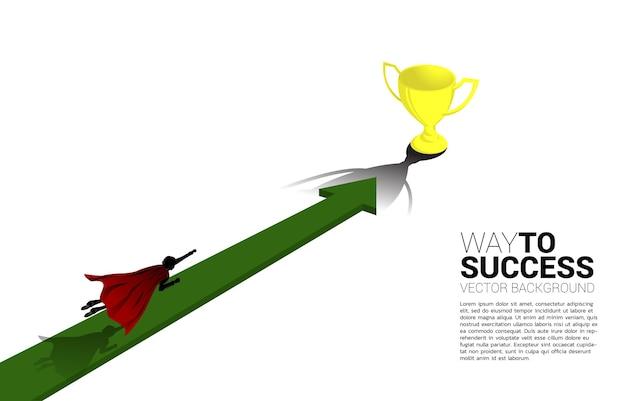 Silhueta do empresário voar para o troféu. conceito de impulsionar e avançar nos negócios.