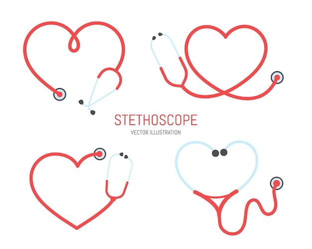 Silhueta do estetoscópio da enfermeira quadro de linha do estetoscópio em forma de coração isolado no fundo.