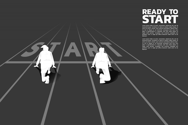 Silhueta do homem de negócios e das mulheres de negócio prontas para correr na linha do começo na trilha de competência.