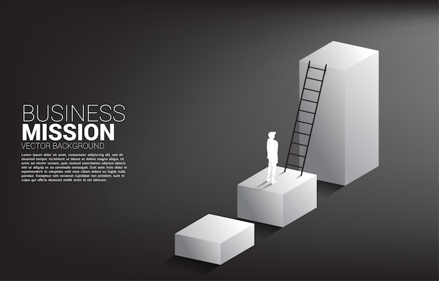 Silhueta do homem de negócios pronto para mover-se no gráfico de barra com escada. conceito de missão de visão e meta de negócios