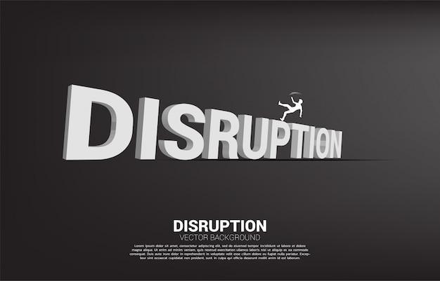 Silhueta do homem de negócios que cai para baixo do texto 3d da interrupção. conceito de crise por interrupção de negócios