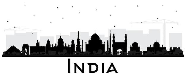 Silhueta do horizonte da cidade da índia com edifícios pretos isolados no branco delhi hyderabad kolkata
