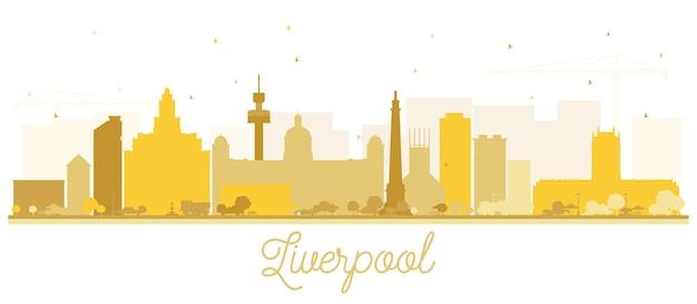 Silhueta do horizonte da cidade de liverpool com edifícios dourados isolados no branco. ilustração