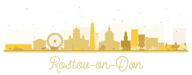 Silhueta do horizonte da cidade de rostov-on-don rússia com edifícios dourados isolados no branco. ilustração