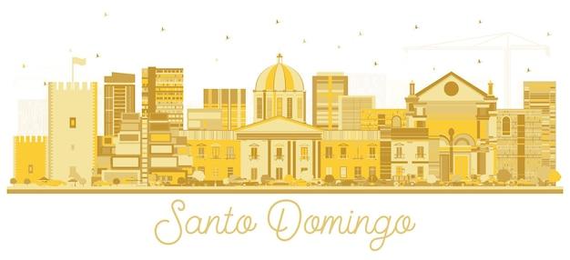 Silhueta do horizonte da cidade de santo domingo república dominicana com edifícios dourados isolados no branco