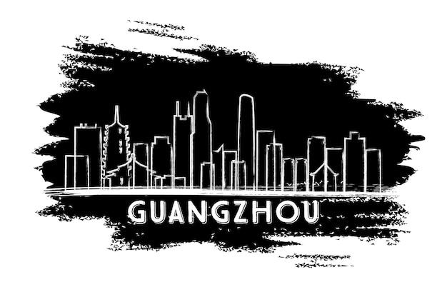 Silhueta do horizonte de guangzhou china. esboço desenhado à mão. ilustração vetorial. viagem de negócios e conceito de turismo com arquitetura moderna. imagem para cartaz de banner de apresentação e site.