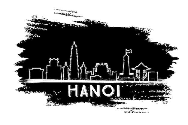 Silhueta do horizonte de hanói. esboço desenhado à mão. ilustração vetorial. viagem de negócios e conceito de turismo com arquitetura moderna. imagem para cartaz de banner de apresentação e site.