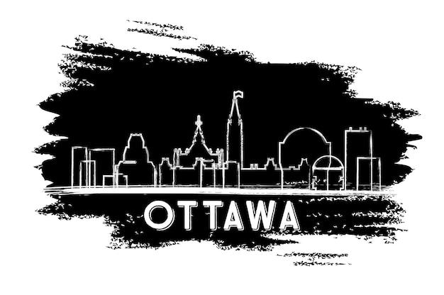 Silhueta do horizonte de ottawa canadá. esboço desenhado à mão. ilustração vetorial. viagem de negócios e conceito de turismo com arquitetura moderna. imagem para cartaz de banner de apresentação e site.