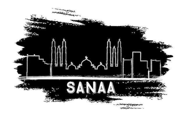 Silhueta do horizonte de sanaa (iêmen). esboço desenhado à mão. ilustração vetorial. viagem de negócios e conceito de turismo com arquitetura moderna. imagem para cartaz de banner de apresentação e site.