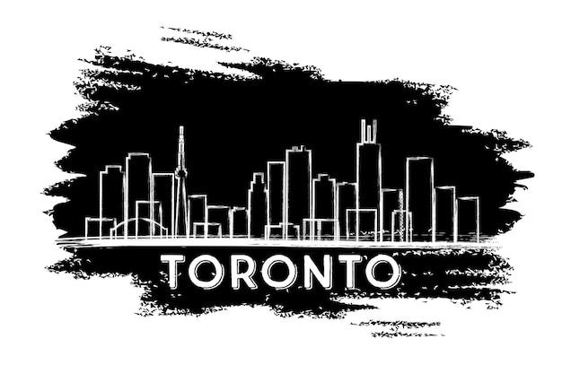 Silhueta do horizonte de toronto. esboço desenhado à mão. ilustração vetorial. viagem de negócios e conceito de turismo com arquitetura moderna. imagem para cartaz de banner de apresentação e site.