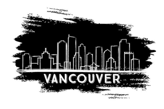 Silhueta do horizonte de vancouver. esboço desenhado à mão. ilustração vetorial. viagem de negócios e conceito de turismo com arquitetura moderna. imagem para cartaz de banner de apresentação e site.