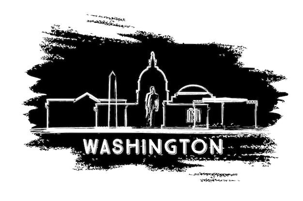 Silhueta do horizonte de washington dc. esboço desenhado à mão. ilustração vetorial. viagem de negócios e conceito de turismo com arquitetura histórica. imagem para cartaz de banner de apresentação e site.