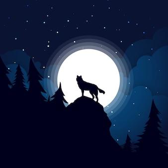 Silhueta do lobo preto o fundo da lua cheia.