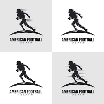 Silhueta do logotipo do jogador de futebol americano em execução logotipo do futebol americano