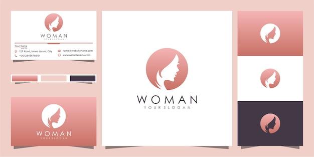 Silhueta do logotipo do rosto de uma mulher e design do cartão de visita