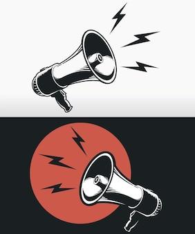 Silhueta do megafone com logotipo do alto-falante preto