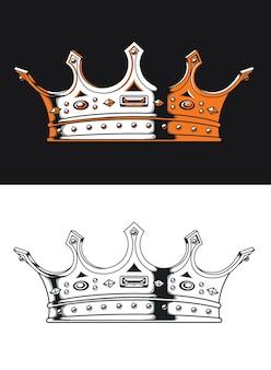 Silhueta do rei coroa vintage logotipo isolado em estilo preto e branco