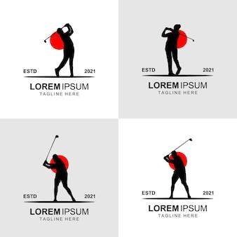 Silhueta do vetor de design de logotipo de golfe