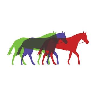 Silhueta dos cavalos na ilustração colorida