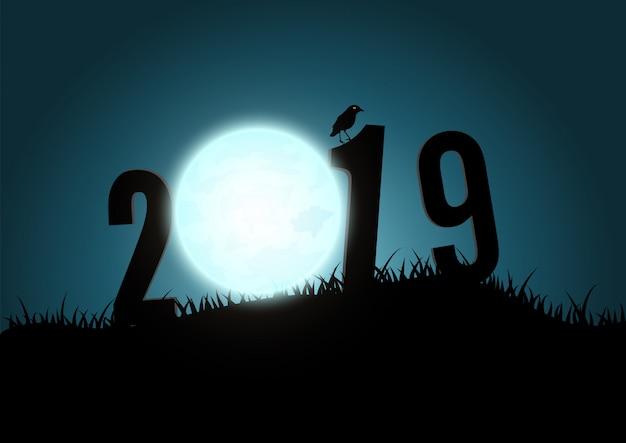 Silhueta dos números 2019 montanhas com lua.