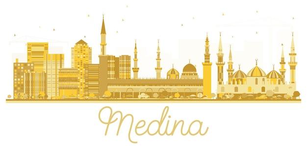 Silhueta dourada do horizonte da cidade da arábia saudita medina. ilustração vetorial. conceito plano simples para apresentação de turismo, banner, cartaz ou site da web. medina cityscape com marcos.