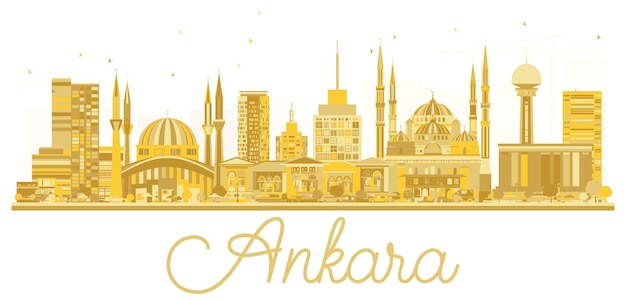 Silhueta dourada do horizonte da cidade de ancara turquia. ilustração vetorial. conceito de viagens de negócios. arquitectura da cidade de ancara com monumentos.