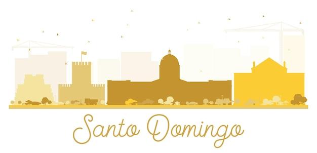 Silhueta dourada do horizonte da cidade de santo domingo. ilustração vetorial. ilustração plana simples para apresentação de turismo, banner, cartaz ou site da web. paisagem urbana com monumentos.